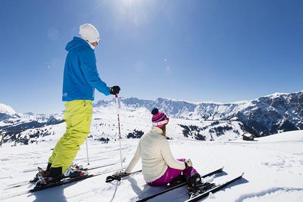 2 Skifahrer aus der Seiser Alm